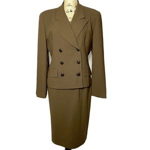 Dior Brown 3pc Suit Set Blazer Skirt Pants